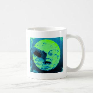 Uma viagem à lua (Aqua Sci retro marinho Fi) Caneca