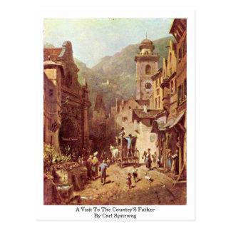 Uma visita ao pai dos países por Carl Spitzweg Cartão Postal