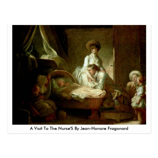Uma visita às enfermeiras por Jean-Honore Fragonar Cartão Postal