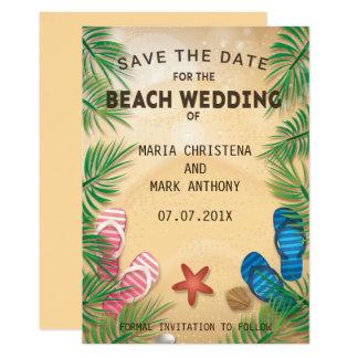 Umas economias do casamento de praia o anúncio da convite 12.7 x 17.78cm