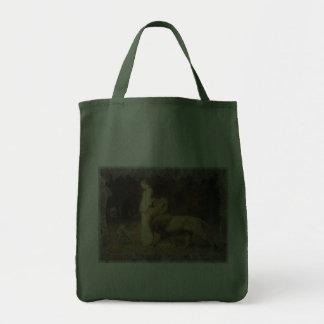 Una e o leão no verde sacola tote de mercado