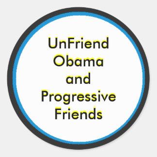 UnFriend Obama e amigos progressivos Adesivos Redondos