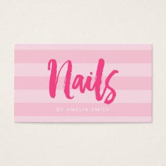 Unhas cor-de-rosa modernas do roteiro da escova cartão de visitas