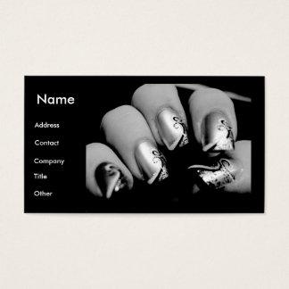 Unhas do manicuro em preto & no branco cartão de visitas
