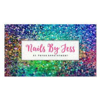 Unhas multicoloridos do impressão da textura do cartão de visita