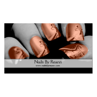 Unhas por Reann (unhas alaranjadas) Cartão De Visita