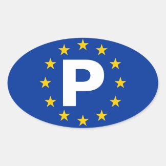 """União Europeia de QUATRO Portugal """"P"""" Adesivo Oval"""