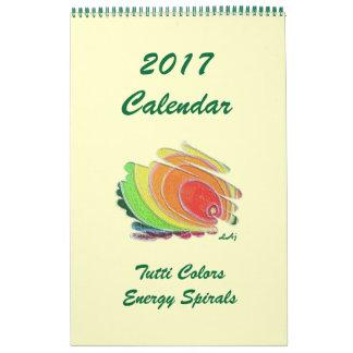 Única página colorida calendário de 2017 espirais