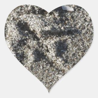 Única pegada do pássaro da gaivota na areia da adesivo coração