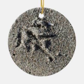 Única pegada do pássaro da gaivota na areia da ornamento de cerâmica