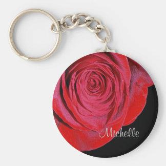 Única rosa vermelha personalizada chaveiro