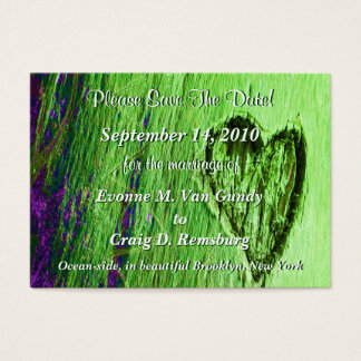 Únicas economias do coração a data na luz - verde cartão de visitas
