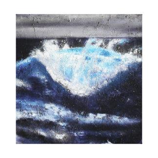Único impressão azul das canvas da onda