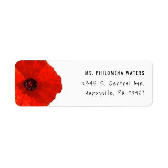 Único modelo vermelho da papoila dois etiqueta endereço de retorno