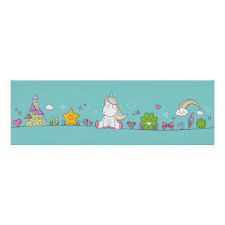 Unicorn with stars, clovers and diamonds poster