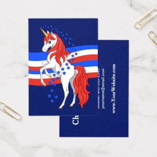 Unicórnio americano patriótico azul branco cartão de visitas