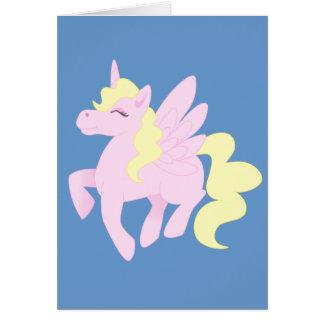 Unicórnio cor-de-rosa bonito Pegasus (Unipeg) Cartão