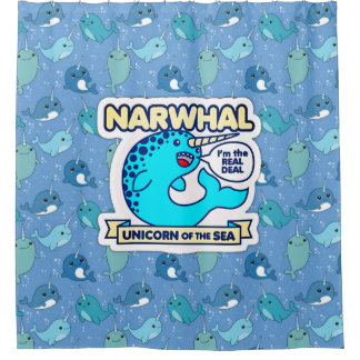 Unicórnio de Narwhal do mar Cortina Para Chuveiro