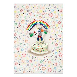 Unicórnio do feliz aniversario convite 8.89 x 12.7cm