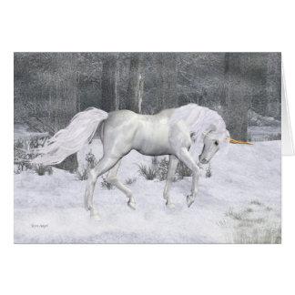 Unicórnio do inverno. cartão de Natal da fantasia