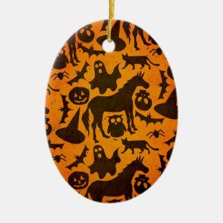 Unicórnio do susto do Dia das Bruxas Ornamento De Cerâmica