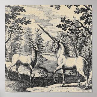 Unicórnio Mythical na floresta Poster