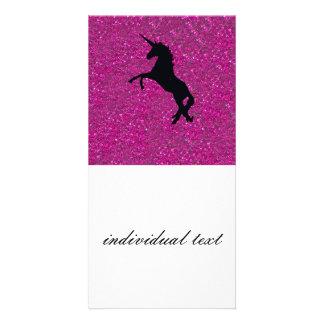 unicórnio no brilho cor-de-rosa cartão com foto