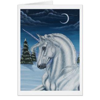 Unicórnio no cartão da paz do inverno