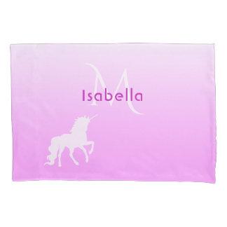 Unicórnio no monograma e no nome cor-de-rosa e