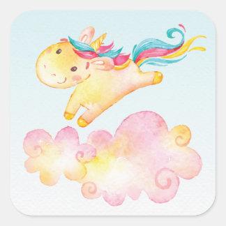 Unicórnio Pastel do arco-íris com etiqueta do doce Adesivo Quadrado