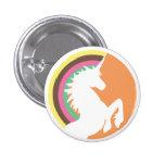 unicórnio retro do anos 80 e botão do arco-íris boton
