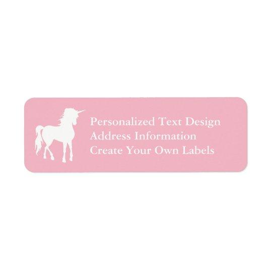 Unicórnio rosa pálido e branco etiqueta endereço de retorno
