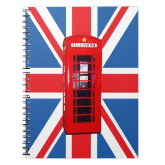 Union Jack/caixa da bandeira & do telefone Cadernos