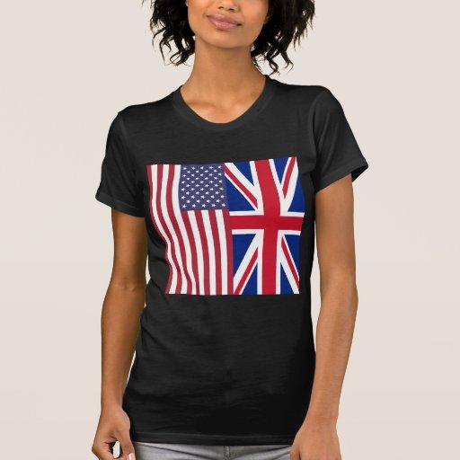 Union Jack e bandeiras dos Estados Unidos da Améri T-shirt