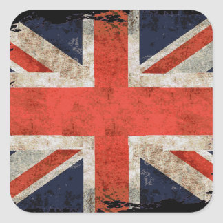 Union Jack shredded envelhecido Adesivo Quadrado