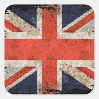 Union Jack shredded envelhecido Adesivo Em Forma Quadrada