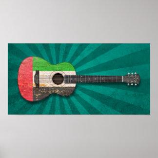 United Arab Emirates embandeiram a guitarra acústi Posteres