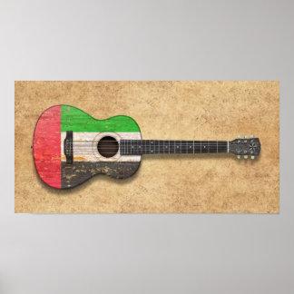 United Arab Emirates embandeiram a guitarra acústi Pôsteres