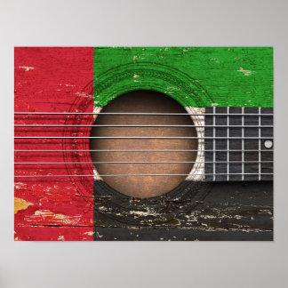 United Arab Emirates embandeiram na guitarra Posters