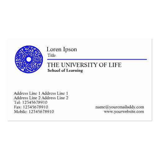 Universidade da vida - regra azul modelo cartoes de visitas