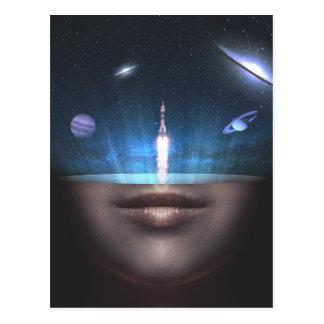 Universo na mente cartão postal