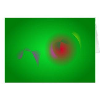 Universo verde e um sol vermelho cartões