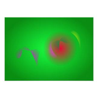 Universo verde e um sol vermelho convites personalizado