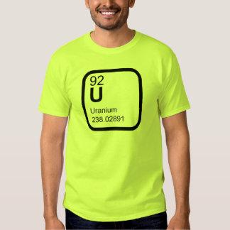Urânio - design da ciência da mesa periódica t-shirts