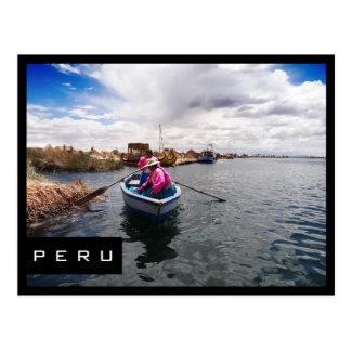 Uros no lago Titicaca, cartão preto do quadro de