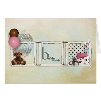 Ursinho da menina do feliz aniversario cartão comemorativo