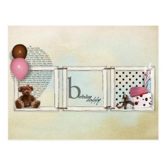 Ursinho da menina do feliz aniversario cartão postal