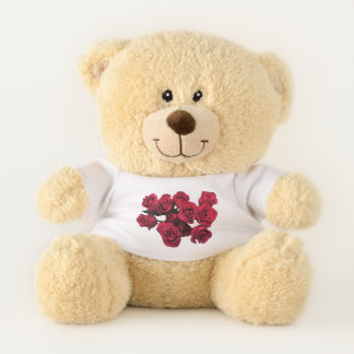 Ursinho De Pelúcia A rosa vermelha floresce o urso de ursinho