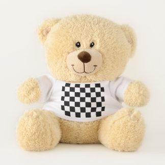 Ursinho De Pelúcia Branco de competência Checkered clássico do preto