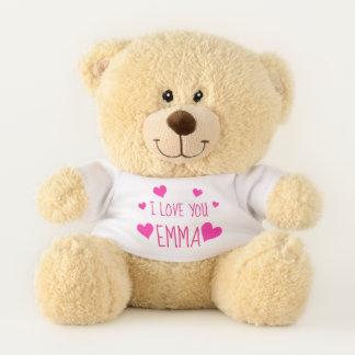 Ursinho De Pelúcia Corações cor-de-rosa dos namorados | personalizado